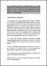 Nota informativa sobre la interpretación de la Junta Consultiva de Contratación del Estado, en relación con el artículo 118 de la Nueva Ley de Contratos del Sector Público, Ley 9/2017, de 8 de noviembre, publicada en el BOE núm. 272, de 9 de noviembre