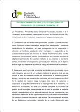 Declaración Institucional de la IV Conferencia de Presidentes de Gobiernos Provinciales